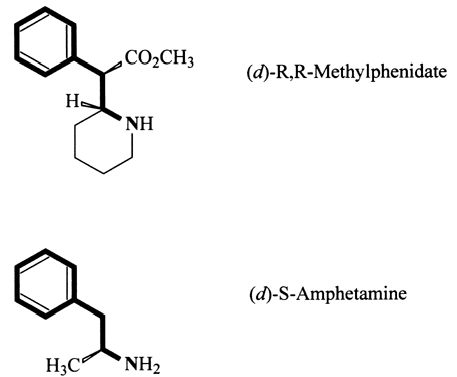 Les structures de méthylphénidate et amphétamine proches ?