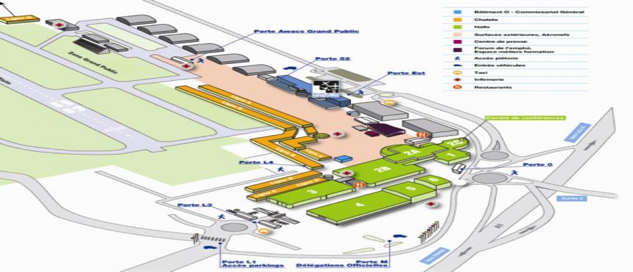 Plan du salon for Parking salon du bourget 2017