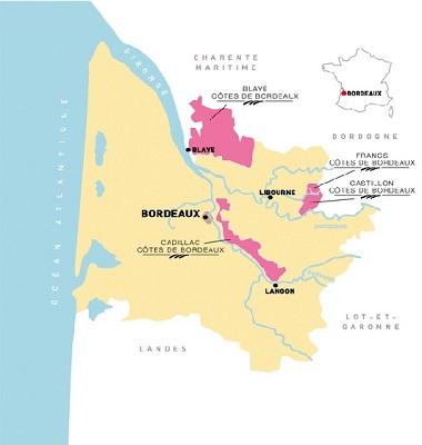 Un été dans les vignes. Situation géographique des Châteaux Côtes de Bordeaux participants.
