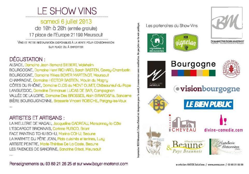 annonce show vins participants