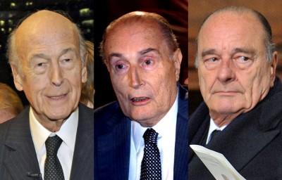 Les présidents séducteurs de gauche à droite Valery Giscard D'Estaing, François Mitterand, Jaques Chirac