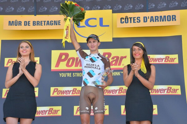 Alexis Vuillermoz vainqueur de la 8ème étape à Mûr de Bretagne (Crédit : ASO/B.Bade)