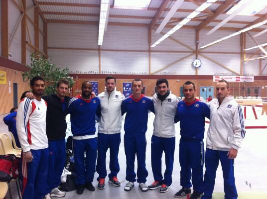 L'équipe de France GAM De gauche à droite : Kévin Antoniotti, Arnaud Willig, Axel Augis, Jim Zona, Cyril Tommasone, Hamilton Sabot, Samir Aït Saïd et Julien Gobaux
