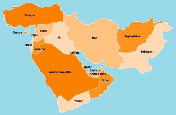 Moyen-Orient-carte-du-Moyen-Orient-Turquie-Syrie-Liban-Israel-Jordanie-Irak-Iran-Koweit-Barein-Qatar-Emirat-Arabe-Unis-Yemen-Oman-Afganistan-Pakistan-Moyen-Orient