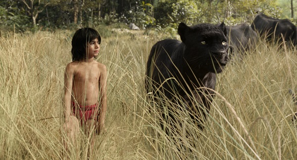 "Mowgli (newcomer Neel Sethi) and Bagheera (voice of Ben Kingsley) embark on a captivating journey in ""The Jungle Book,"" an all-new live-action epic adventure about Mowgli, a man-cub raised in the jungle by a family of wolves, who is forced to abandon the only home he's ever known. In theaters April 15, 2016.   ©2015 Disney Enterprises, Inc. All Rights Reserved."
