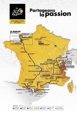 carte et parcours du Tour de France 2016