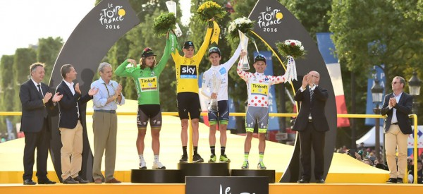 Podium du Tour de France 2016 : Christopher Froome maillot jaune