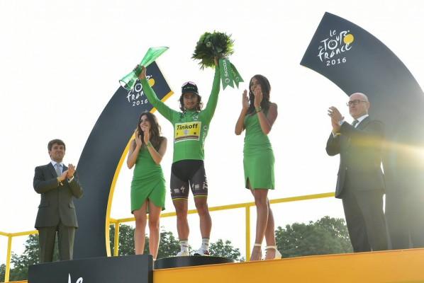 Podium maillot vert Peter Sagan (Crédit : ASO/P.Ballet)