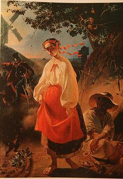 Peinture éxécutée par Taras Chevtchenko pour illustrer son poème Kateryna.