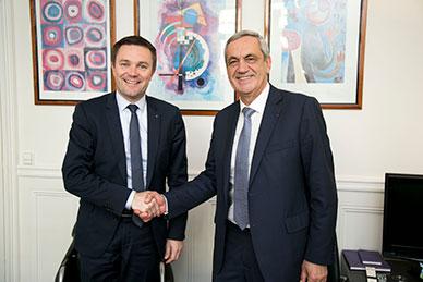 Partenariat signé : David Lappartient et Yves Breton (Crédit photo/Xavier Renauld)