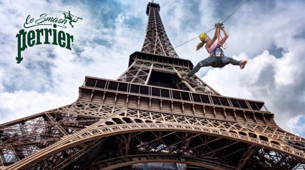 Descendez la Tour Eiffel en tyrolienne avec Perrier