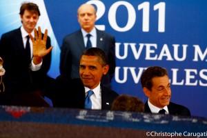 Arrivé de Monsieur Barack Obama et de Monsieur Nicolas Sarkozy avec Monsieur François Baroin et Monsieur Alain Jupé
