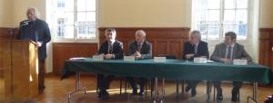 De gauche à droite: Christian Forestier (Président), Bernard Hibert, Gérard Rapp, Norbert Perrot et Edgard Wermuth (Vice-Présidents) au salon d'honneur du Cnam