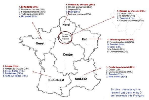 Les desserts préférés des Français par régions.