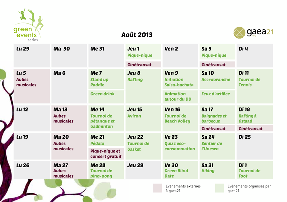 green event series programme aout