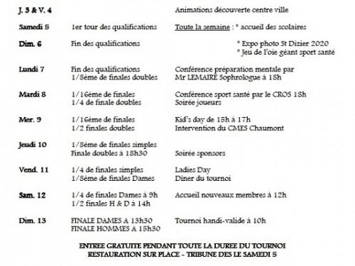 Programme complet du tournoi Futur de Saint- Dizier.