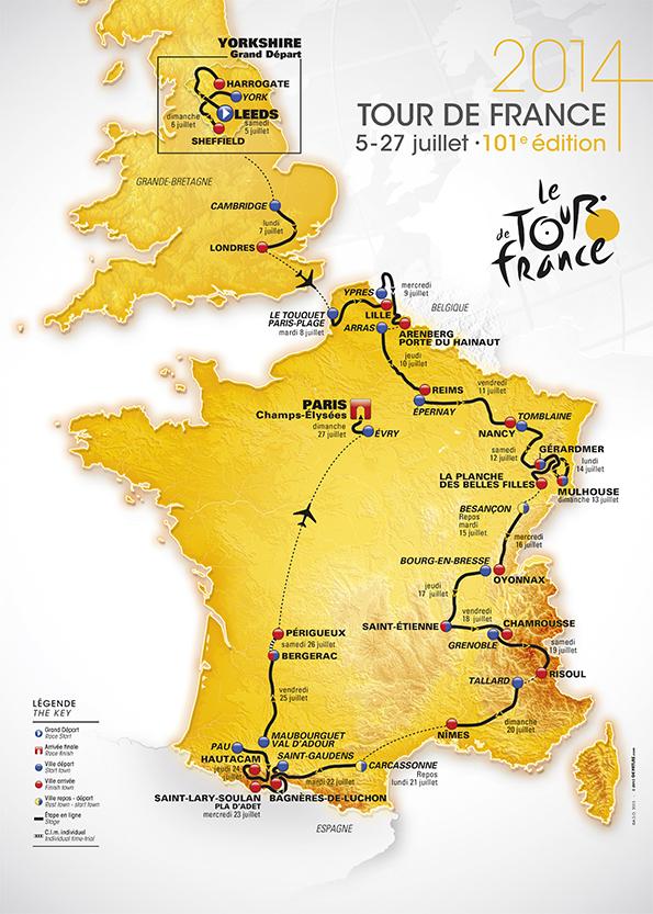 La carte du Tour 2014 -Parcours