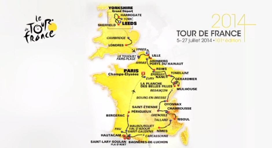 parcours Carte Tour de France 2014