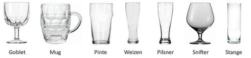 différent verres à bière