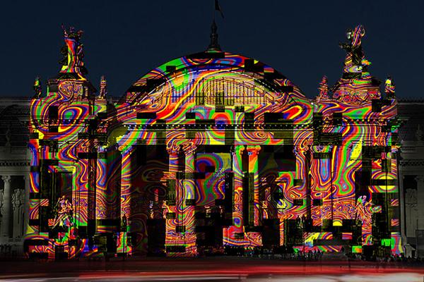 Miguel Chevalier, L'Origine du Monde 2014, façade du Grand Palais.  Installation de réalité virtuelle générative 60 x 30 m.  Courtesy Louise Alexander Gallery