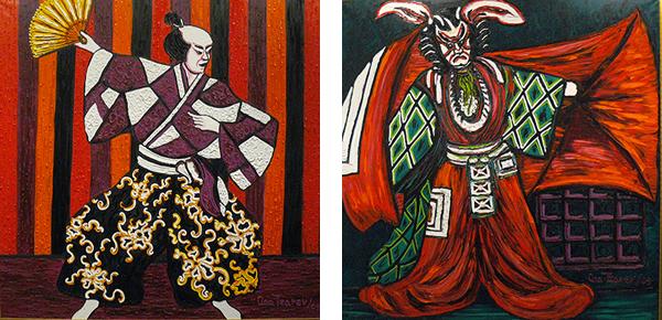 Ana Tzarev, La Danse de Shinnosuke, 2005 et Shibaraku, Hommage à Danjuro XII, 2003, huiles sur toile. Photos : Marika Prévosto