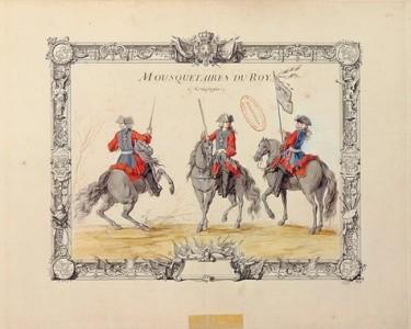RMN/Musée de l'Armée Estampe coloriée représentant les mousquetaires de la 2e compagnie. Planche extraite du recueil d'uniformes de Jacques Antoine Delaistre, 1721.