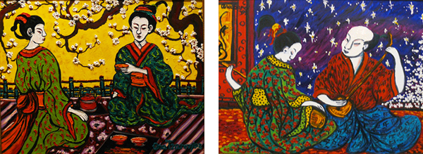Ana Tzarev, Printemps, 2002, et Love Songs, 1999, huiles sur toile. Photos : Marika Prévosto