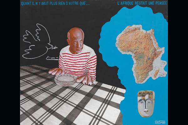 Chéri Samba, Quant il n'y avait plus rien d'autre que.., 1997. Acrylique sur toile, 81 x 103 cm. Collection André Magnin, Paris