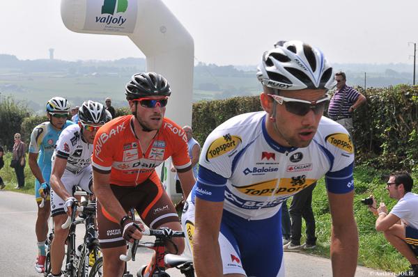 les 4 échappés : d'Anthony Delaplace (Bretagne Seché Environnement) Romain Pillon (Roubaix Lille Métropole) Arman Karmyshev (Astana) Victor Campenaerts (Topsport Vlaanderen- Baloise)