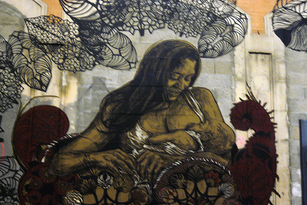 Swoon, Down & Gemma, mural, ancienne gare Masséna, Nuit Blanche à Paris 2014. Photo Marika Prévosto