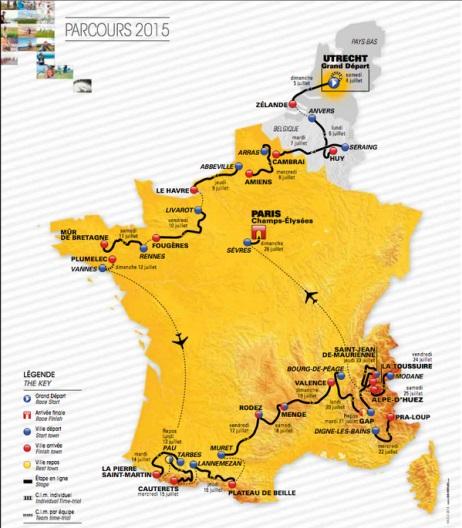 Carte du parcours Tour de France 2015