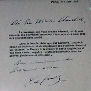 Lettre du général envoyée à Churchill le 7 juin 1958
