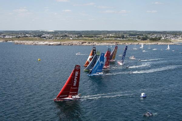June 14, 2015. The start of Leg 9 from Lorient to Gothenburg via the Hague; The fleet cross the start line