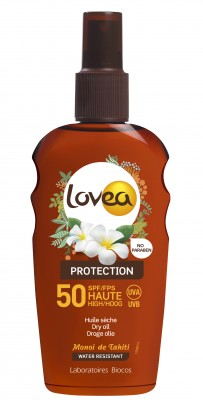 LOVEA - Spray huile sèche SPF 50 au Monoi de Tahiti - Haute Protection - 200 ml