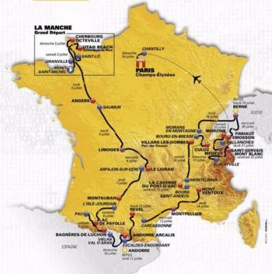 CARTE DU PARCOURS TOUR DE FRANCE 2016
