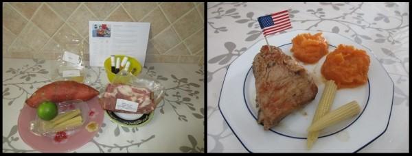 Ribs de porc sauce barbecue, patate douce et épis de mais