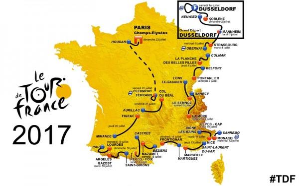 Carte des bruits d'etapes et d'arrivée du Tour 2017