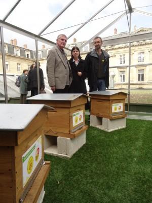 Inauguration des 3 ruches sur le toit du 4 rue Lobau