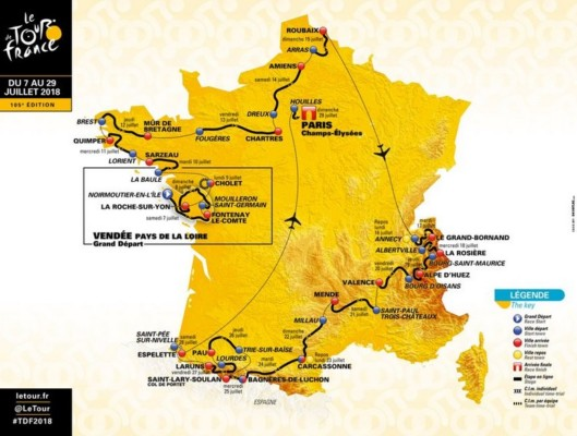 Carte Tour de France 2018 Horaires