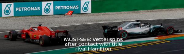 FORMULE 1 GP Italie Vettel Tete a queue