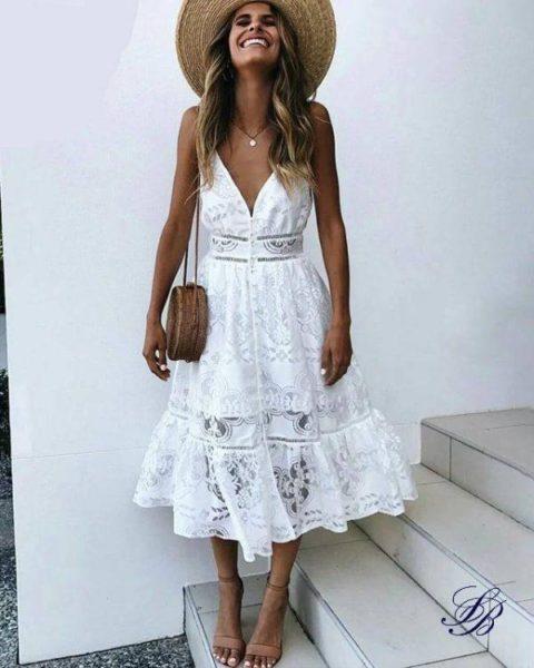 Comment porter une robe blanche Bohème